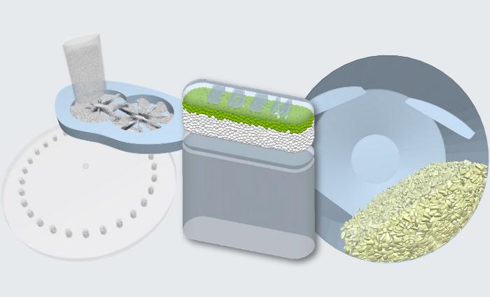 Altair EDEM kann dafür verwendet werden, eine Reihe von Prozessen zu simulieren: Formfüllung, Tablettenbeschichtung, Tablettierung