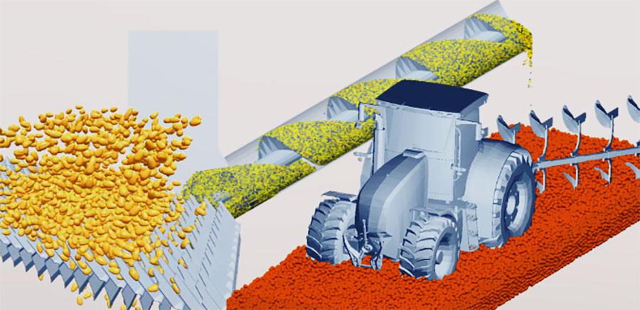 Konstruktion von Landmaschinen: wie die Schüttgutsimulation den Konstruktionsprozess beschleunigen und die Maschinenleistung verbessern kann